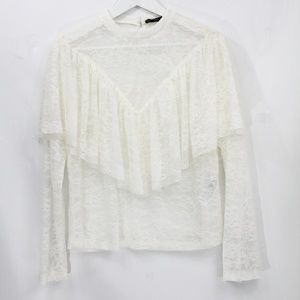 Zara Ruffle Shirt Small Top New white lace
